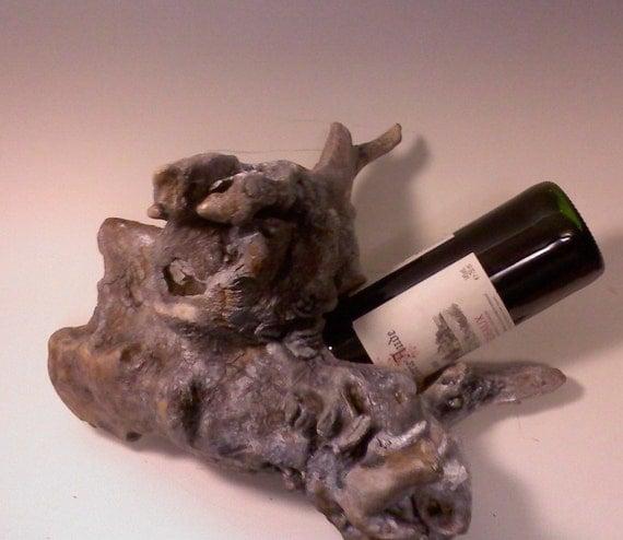 Driftwood Wine Bottle Holder By Aspenbottleholders On Etsy
