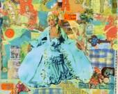 Blue Ballgown Vintage Photo Mixed Media Collage 11x14