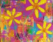 Yellow Flowers Pink Purple Mixed Media Giclee Print Grow