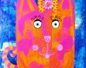 Whimsical Pink Cat  Fun Nursery Decor Giclee Print Orange Blue