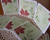 Mini Cards/Tags with Poinsettia and Holly Set of 6