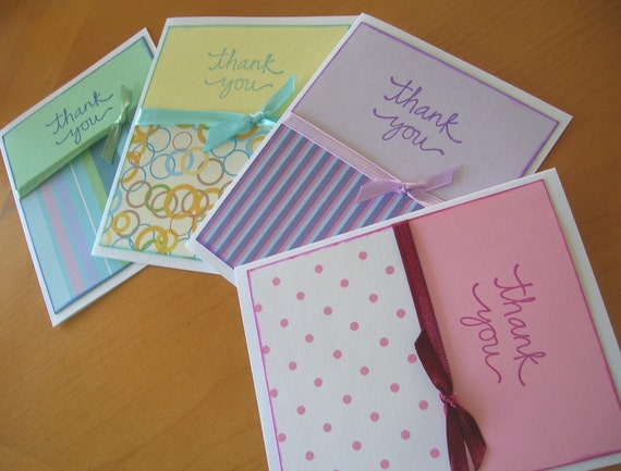 Thank you Note Cards Set of 4