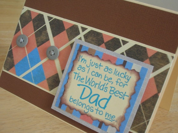 Father's Day Card Brown Pink Blue Argyle and Stripes