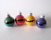Mario Mustache Christmas Ornament- Set of 4 Hand Painted Mario Inspired Miniature Glass Ball Ornaments