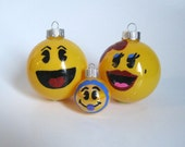 Pac Man Christmas Ornaments- Set of 3 Hand Painted Pac Man Inspired Glass Ball Ornaments