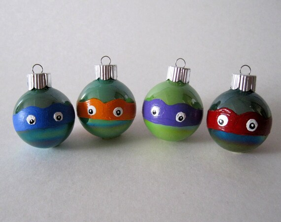 Ninja Turtles Christmas Ornament- Set of 4 Hand Painted TMNT Inspired Miniature Glass Ball Ornaments