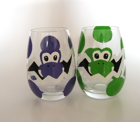 Yoshi Egg Glass- Set of 2 hand painted Mario Inspired Drinking Glasses