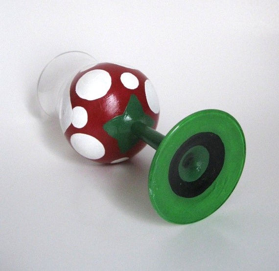 Piranha Plant Wine Glass - One Hand Painted Mario Inspired Glass