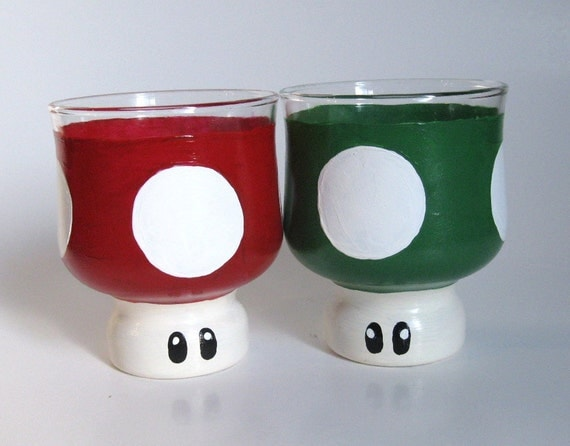 Mario Mushroom Drinking Glasses- Set of Two Hand Painted Mario Inspired Glasses