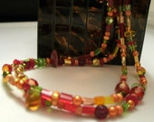 Beautiful Fall Colors. Wrap Around or Single Strand Long Necklace