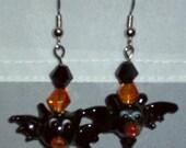 FREE SHIPPING UNTIL OCT 31  Halloween Spooky Black Bat Dangle Earrings