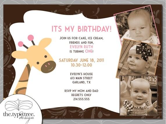 Giraffe Party Invitation - DIY Customizable PDF File