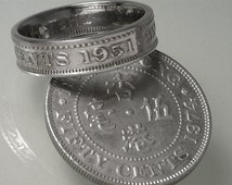 COIN RING JEWELRY  - British - Hong Kong - Fifty Cents - Choose The Year & Ring Size You Want
