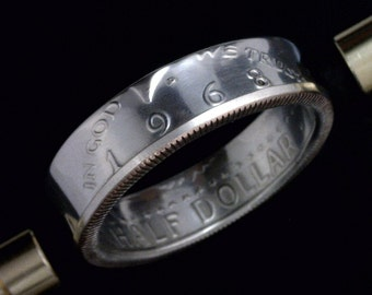 COIN RING - Kennedy Half Dollar - 40% Silver - Obverse Orientation - Sizes: 8 - 13 (Select Your Size)