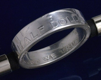 COIN RING - Franklin Silver Half Dollar -  (Reverse Orientation) - Select Year & Size