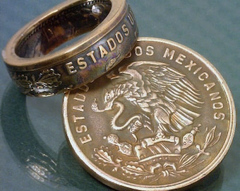 COIN RING  - (( Mexico 20 Centavos Coin )) -  (Choose The Ring Size You Want) - By: The Coin Smith
