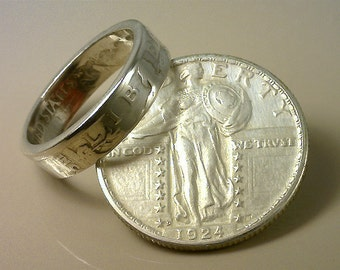 COIN RING  - (U.S. Standing Liberty Quarter Dollar) - (Choose The Year & Ring Size You Want)