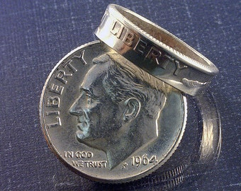 COIN RING - (U.S. Roosevelt Silver Dime) - (Pinky or Toe Ring) - (Choose The Ring Size You Want)