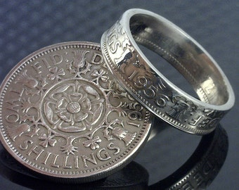 COIN RING JEWELRY - British Two Shillings - Choose The Year & Ring Size You Want