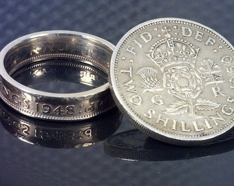 COIN RING  - (( British Two Shillings )) - (Choose The Year & Ring Size You Want)