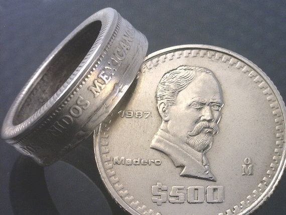 COIN RING JEWELRY  - (( Mexico 500 Peso Coin )) - Choose The ((Ring Size)) You Want