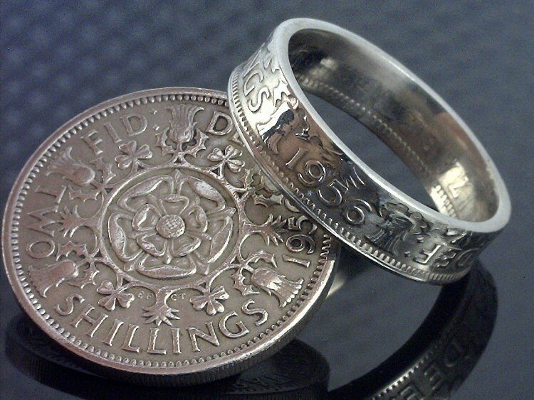 coin ring jewelry two shillings choose the year