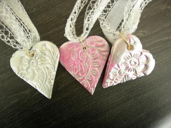 Ceramic bisque Heart Gift Tag Wine Bottle Charm Set II