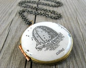 Coiled Bee Hive Vintage Dictionary Locket Necklace
