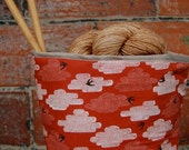 fabric storage container - red birds