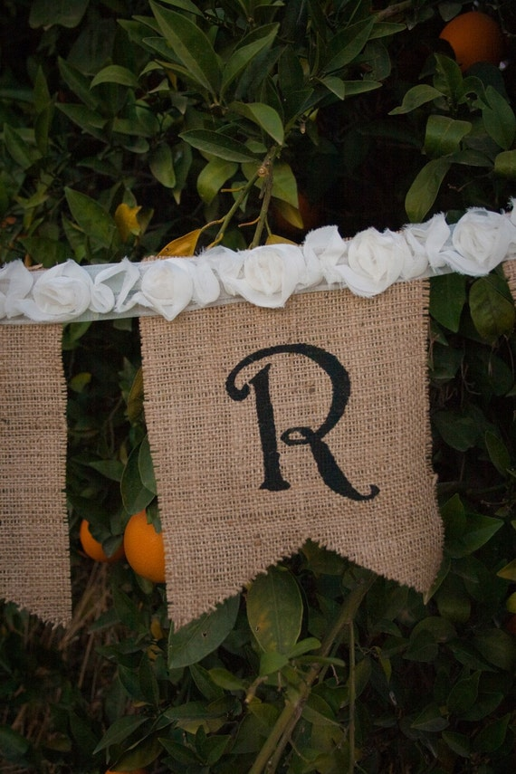 Just Married ........ French Country Burlap Wedding Banner