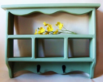 Shelf - Shadow Box with Key Hooks - Painted Wood - Collectibles Shelf