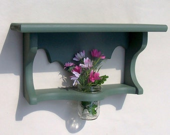 Wood Shelf with Jar Vase - Kitchen Shelf - Bathroom Shelf - Painted Shelf