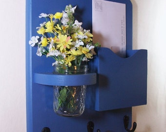 Mail Key Holder - Mail Organizer - Letter Holder - Mail and Key Holder - Key Hooks- Jar Vase