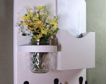 Mail Organizer - Mail and Key Holder - Letter Holder - Key Hooks- Jar Vase - Organizer