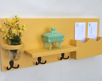 Mail Organizer - Mail Holder - Coat Hooks - Key Hooks - Jar Vase - Organizer - Coat Rack - Wood
