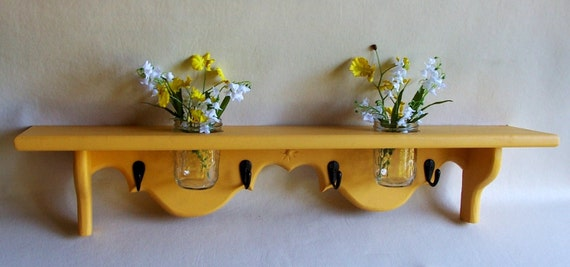 Shelf with Mason jar and Key Hooks - Painted Wood