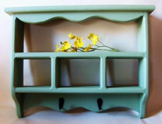 Shelf - Shadow Box with Key Hooks - Painted Wood - Cubby Shelf