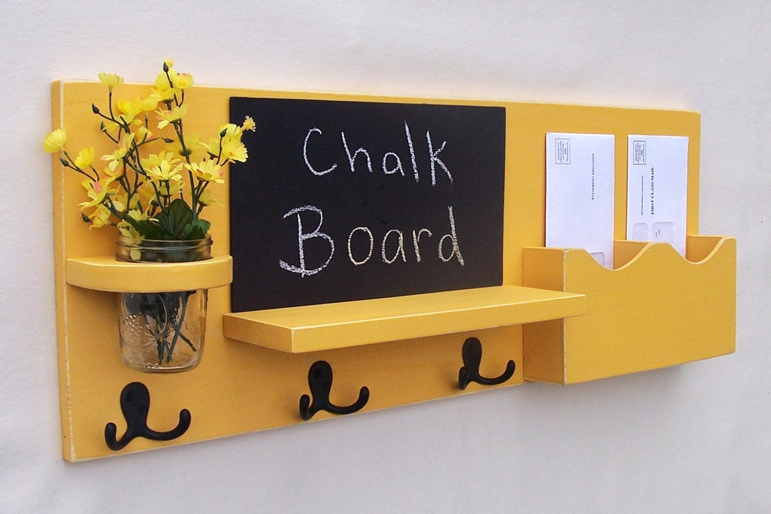 Chalkboard mail organizer coat rack mail holder by legacystudio - Wooden letter and key holder ...