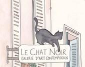 Black Cat, Paris - Le Chat Noir giclee art print of Paris illustration