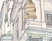 Paris Honey Bee Hive - art illustration print
