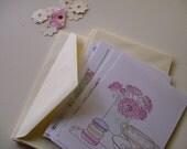 Paris Notecards - French Blue, Aqua, Pastel, 3pk flat postcards with envelopes