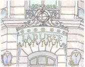 Laduree Champs-Elysees Paris - Pastel, Mint - Giclee Print