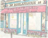Paris Illustration - Boulangerie, Paris Bakery, Turquoise, Raspberry Pink - giclee print