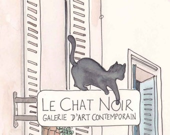 Black Cat, Paris - Le Chat Noir, fine art Paris print, Paris illustration, Paris art