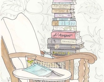 Date With a Stack of Light Reading art illustration print, book lovers print, library print
