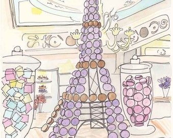 Paris Eiffel Tower of Macarons giclee print of ink and watercolour illustration