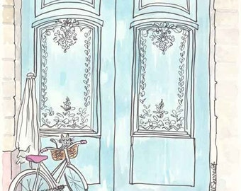 Paris Illustration - Turquoise Doors and Cycling Kitty Cat art giclee print