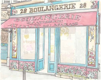 Paris Illustration - Boulangerie, Paris Bakery, Turquoise, Raspberry Pink - giclee print
