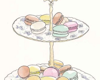 French Macarons for Tea - Pastel Macarons sweet art - giclee print of original illustration