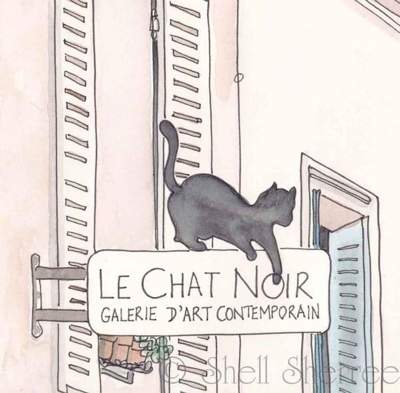 Black Cat, Paris - Le Chat Noir, fine art Paris print, Paris illustration, Paris art